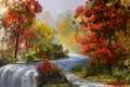 Картинка осень, вода, деревья, река, поток, art
