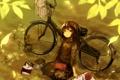 Картинка клубок, велосипед, игрушка, книги, арт, девочка, кружка