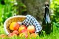 Картинка корзина, яблоки, вино, трава, пикник, салфетка