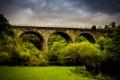 Картинка лес, деревья, мост, Великобритания, речка, кусты, Derbyshire