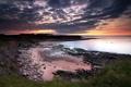 Картинка природа, пейзаж, закат, берег, море