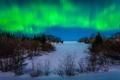 Картинка зима, Iron River, сияние, снег