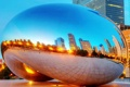 Картинка закат, отражение, небоскребы, вечер, Чикаго, США, монумент