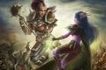 Картинка девушки, арт, битва, эльфийка, wow, world of warcraft