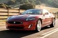 Картинка Ягуар, передок, дорога.изгородь, XKR, Jaguar, купе, суперкар