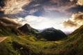 Картинка дорога, небо, облака, горы, растительность