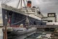 Картинка субмарина, облака, небо, причал, Queen Mary, США, подводная лодка