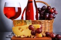Картинка вино, корзина, сыр, виноград, орехи