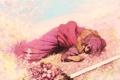 Картинка девушка, цветы, меч, арт, лежит, kio naoki