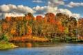 Картинка осень, природа, река, краски, HDR
