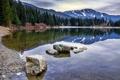 Картинка лес, вода, горы, озеро, отражение, камни, берег