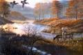 Картинка осень, озеро, пруд, утки, живопись, олени, заморозки