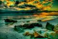 Картинка море, волны, небо, тучи, камни, берег, вечер