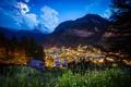 Картинка пейзаж, горы, ночь, огни, Moonlit Matterhorn