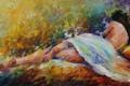 Картинка волосы, ножки, живопись, Leonid Afremov, девушка, спина, поза