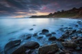 Картинка море, тучи, камни, рассвет, берег, утро