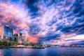 Картинка облака, небо, море, Seattle, порт, залив, дома