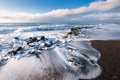 Картинка песок, море, небо, пена, берег, прибой