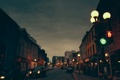 Картинка люди, улица, Канада, фонари, автомобили, Ньюфаундленд и Лабрадор, серые облака