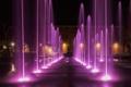 Картинка ночь, огни, дома, Италия, фонтан, Эмилия-Романья, Реджо-нель-Эмилия