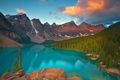 Картинка лес, горы, озеро, canada, alberta, sunrise on moraine lake - banff