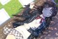 Картинка трава, девушка, скамейка, юбка, аниме, лепестки, арт
