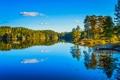 Картинка осень, лес, небо, деревья, озеро, причал