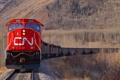 Картинка осень, горы, поезд, локомотив, состав