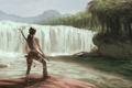 Картинка девушка, остров, водопад, лук, арт, лара крофт, Lara Croft
