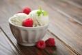 Картинка малина, мороженое, миска, мята, десерт