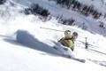 Картинка зима, снег, горы, лыжи, тень, очки, лыжник