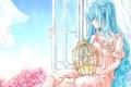 Картинка девушка, цветы, ветер, клетка, окно, арт, шторы