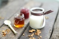 Картинка джем, мед, еда, орехи, мюсли, десерт, Панна котта