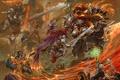Картинка огонь, воины, монстр, эльфы, замок, прыжок, схватка