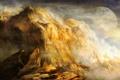 Картинка облака, горы, скалы, планета, спутник, арт
