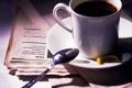 Картинка Cup of coffee, paper, yellow, coffee, Spoon