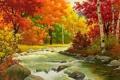 Картинка лес, деревья, река, камни, листва, Осень