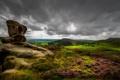 Картинка гроза, поле, холмы, камень, долина, горизонт, серые облака
