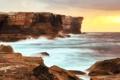 Картинка море, океан, скалы, рассвет, побережье, австралия, sydney