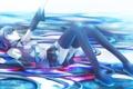 Картинка девушка, дождь, арт, микрофон, vocaloid, hatsune miku, школьная форма