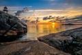 Картинка море, закат, камни, скалы, побережье, горизонт, Норвегия