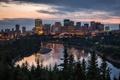 Картинка река, вечер, Город