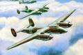 Картинка небо, облака, рисунок, арт, бомбардировщики, советские, ВоВ