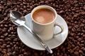 Картинка пена, кофе, зерна, ложка, чашка, блюдце