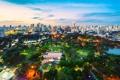 Картинка закат, город, Bangkok, Lumpini park, небо, парк, тайланд