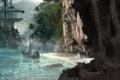 Картинка река, скалы, лодка, корабль, fortune