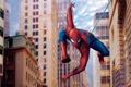 Картинка паук, здания, паутина, spiderman, спайдермен, кино, полёт