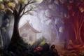 Картинка лес, деревья, цветы, дети, грибы, сказка, арт