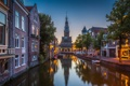 Картинка небо, дома, вечер, канал, Нидерланды, Алкмар