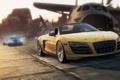 Картинка погоня, пыль, аэродром, need for speed most wanted 2, Audi R8 GT Spyder